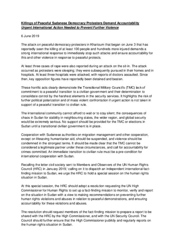 Civil society statement on Sudan to international community